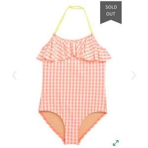Crewcuts   girls 12   gingham plaid bathing suit